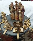 Vintage Brass 4 Gold Christmas Stocking Mantel Holders w Nativity Piece