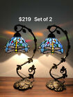 Tiffany Style Table Lamp Dragonfly Sky Blue Stained Glass Antique Set Of 2 H205