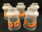 5 Frosted Glass Bell Shape 225 Fitter Shades Hand Painted Landscape C1915