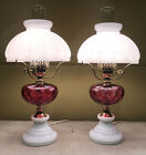 Milk Glass and Cranberry Ruby Red Table Parlor Coin Dot Lamp Set 2 Pair