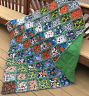 Rag quilt All Sport large throw all flannel handmade USA 201