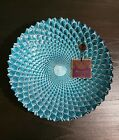 Artistic Accents Hand Decorated Glass Bowl Turquoise Peacock Feather Design