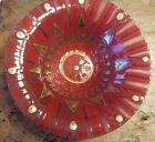 HIGGINS Mid Century Modern Glass Fused Bowl Dish Red Gold Crown Starburst