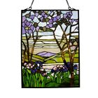 Tiffany style Stained Glass VALLEY Vibrant Floral Window Panel 24 H Handcrafted