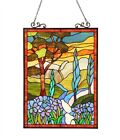 Tiffany glass Handcrafted Stained Glass Floral Window Panel 18x24 ALMOS 260 cuts