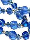 Vintage CHINESE Blue Peking Glass Shou Beaded Necklace w Silver Filigree Clasp