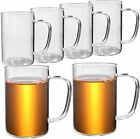 HORLIMER 16 oz Glass Cups Set of 6 Clear Glass Coffee Mugs for Tea Cappuccino L