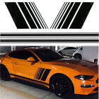 Black Sports Racing Stripe Graphic Vinyl Decal Stickers For Car Body Side Skirt