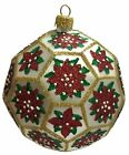 Poinsettia White and Gold Polyhedron Ball Polish Glass Christmas Tree Ornament