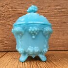 Vintage Blue Milk Glass MilkGlass Grapes  Ivy Covered Candy Dish Footed Bowl