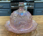 Vintage Imperial Pink Carnival Glass Butter And Cover Dish 161