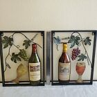 Pair of Unique Vineyard Metal Wall Art Grapes Wine Bottle and Glass 14 x 18