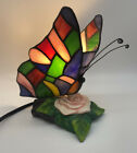Stained Glass Tiffany Style Butterfly Rose Accent Light Table Lamp Pink Purple
