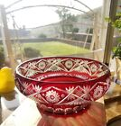 Bohemian Ruby Red Cut to Clear Glass Large Centerpiece Bowl