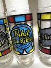 Beer Glasses Tumblers Vintage Stained Glass Barware Set of 6