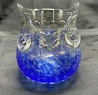 Hand Blown Art Glass Owl Pitcher Blue clear Color