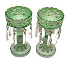 2 STUNNING BOHEMIAN GLASS CUT TO CLEAR  GREEN OVERLAY LUSTERS CANDLE HOLDERS