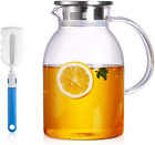 75 Ounces Large Heat Resistant Glass Beverage Pitcher with Stainless Steel Lid