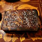 A Beautiful Antique Carved Foliate Faux Tortoise Shell Trinket Box