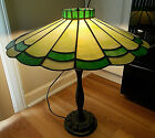 ANTIQUE ART DECO ERA SLAG GLASS TRUE LEADED LAMP SHADE 20 1 2 DIA