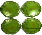 Indiana Glass Iridescent Lime Carnival Glass 4 Harvest Snack Plates NO CUPS