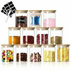 Glass Food Jars Set Small Storage Containers 7oz 12 Piece Airtight Bamboo Lid