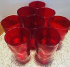 Set of 7 Blenko Rare Ruby Red Glass Indented Dimple Pinched Tumblers 5 MINT