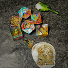 Sages Treasures Captured Rainbow Gold Ink Dichroic Glass Polyhedral Dice Set