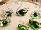 Set of 6 Small Green and Clear Glass Swan figurines  Collectible Murano