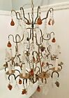 Antique Italian Murano Glass Fruit and Crystal Chandelier