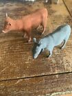 Lot 2 Old Figurines Nativity Noahs Ark France Antique Animals Vintage Mule Cow
