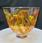 2014 KITRAS ART GLASS BOWL MULTI COLOR ORANGE  YELLOW ART NOUVEAU STYLE FOOTED