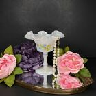 Fenton White Pearl Iridescent Compote Ruffled Edge Tulips  Lily Valley Signed