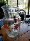 Vintage Glass Pitcher Ice Lip Clear W Red Flowers