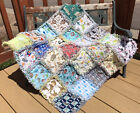 RAG QUILT I SPY throw quilt Neutral 25 different prints handmade in USA 49n