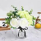 Artificial Flowers with Glass Vase Fake Silk Rose Flowers Eucalyptus Berries