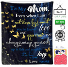 To My Mom I Love You Flower and Butterfly Fleece Sherpa Woven Blanket