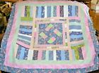 QUILT TOP 1 Woven Ribbon Block of Blue Pink Green 52Sq HANDMADE in USA 0528R