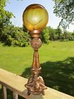 22 Art Deco Nouveau Lady Figural Lamp Made in France W Amber Glass Star Shade