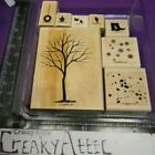 STAMPIN UP BRANCH OUT 8 RUBBER STAMPS TREE SNOW LEAVES FALLING BIRD CREAKYATTIC