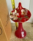 Fenton Ruby Opalescent Striped Jack in the Pulpit Vase NEW in BOX
