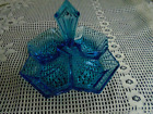 Depression glass Art Deco Teal 4 section divided candy dish art deco handle