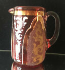Antique Early Ruby Glass Pitcher 1850 Blown Glass Enamel Paint Gold Trim