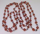Vintage Flapper bead necklace amber glass clear crystal knotted strand