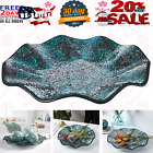 14 Glass Mosaic Decorative Plate All tray Dish Centerpiece BowlBlue color for