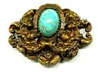 Rare Vintage Art Deco Signed STYLE METAL SPEC NY Speckled Glass Scarab Brooch