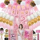 18th Birthday Decoration for Girl Happy Birthday Banner Number 18 Foil Balloon