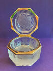 Hawke Octagonal Etched Glass Clear Box with Floral Design and Gold Hinge
