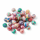 200x Round Flower Printed Handmade Polymer Clay Beads For Jewelry Making 10mm