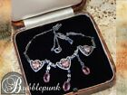 Antique Victorian Filigree Heart Floral Paperclip Chain Necklace Pink Glass